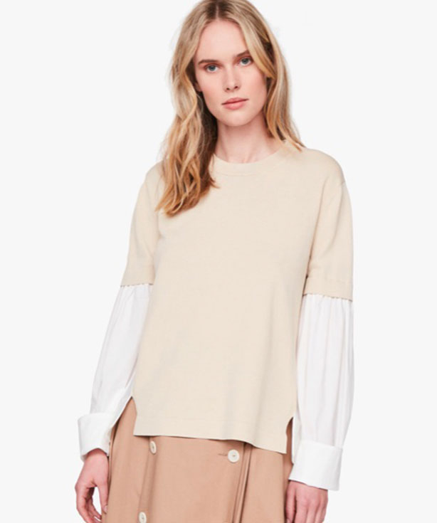 Stretch Top Color Camel And White Only